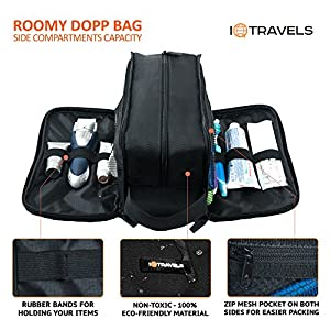 Dopp Kit (12 Inches) 3 Compartments + Waterproof Bag – Easy Organization Travel Toiletry Bag for Men or Women – Excellent Portable Shaving Bag & Toiletries Storage + 2 Bonus Best-Selling Ebooks