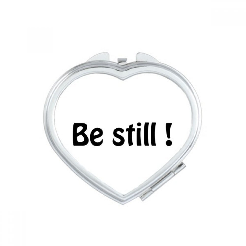 DIYthinker Be Still Text Christian Quotes Heart Compact Makeup Mirror Portable Cute Hand Pocket Mirrors Gift