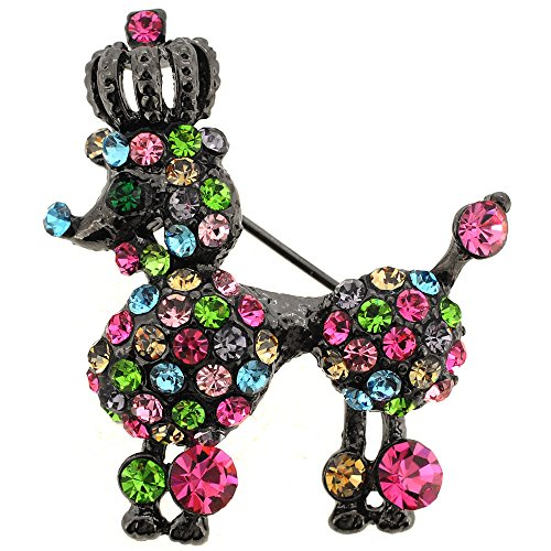 Multicolor Swarovski Crystal Black Poodle Dog Pin Brooch