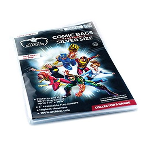 Comic Bags - Silver, Resealable (10 Packs of 100) by Comic Bags & Backing Boards Ultimate Guard