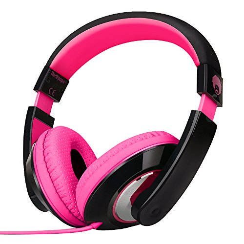 - RockPapa On Ear Stereo Headphones Earphones for Adults Kids Childs Teens, Adjustable, Heavy Deep Bass for iPhone iPod iPad MacBook Surface MP3 DVD Smartphones Laptop (Black/Pink)