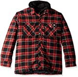 quilted plaid jacket - Dickies Men's Relaxed fit Hooded Quilted Shirt Jacket, Grayridge Gray Cane red Plaid, 2X