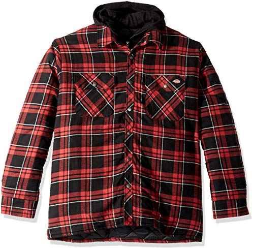Dickies Men's Relaxed fit Hooded Quilted Shirt Jacket, Grayridge Gray Cane red Plaid, L