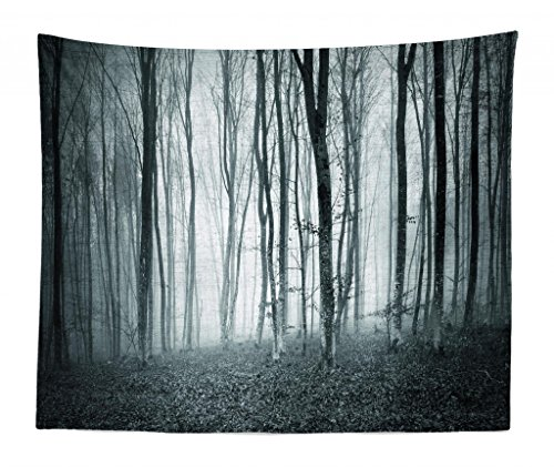 Lunarable Mystical Tapestry King Size, Grunge Color Shade Foggy Mystical Dark Forest Tall Trees Horror Theme Print, Wall Hanging Bedspread Bed Cover Wall Decor, 104 W X 88 L Inches, Teal Grey