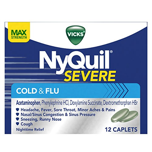 Vicks NyQuil SEVERE Cough Cold and Flu Relief, 12 Caplets (Nighttime Relief Caplets)