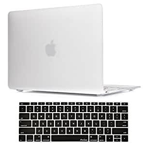 MacBook 12 Inch Case A1534 ProCase Rubberized Hard Case Shell Cover with Hollow Out Silicone Keyboard Skin Cover for Apple MacBook 12 with Retina Display A1534 -Frost Clear
