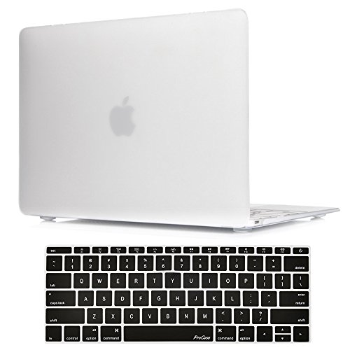 ProCase MacBook 12 Inch Case A1534, Hard Case Rubberized Shell Cover with Silicone Keyboard Skin Cover for Apple MacBook 12 with Retina Display A1534 -Frost Clear