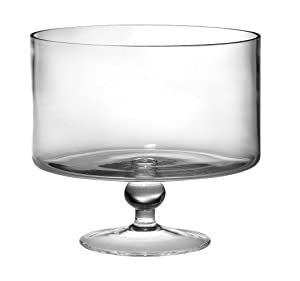 "Barski European Beautiful Hand Made Glass Large Trifle Bowl, 9.5""D , 170 oz (over 5 quarts) Clear"