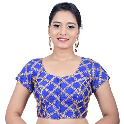(Areum Women's Banglori Silk Royal Blue Sequence Criss Cross Work Readymade Saree Blouse)