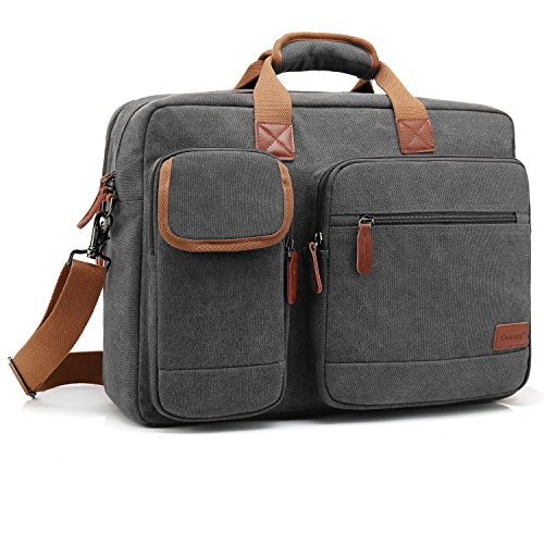 CoolBELL 17.3 Inch Laptop Messenger Bag Briefcase Protective Shoulder Bag Multi-functional Business Hand Bag For Laptop / Ultrabook / Tablet / Macbook / Dell / HP / Men / Women (Canvas Dark Grey) Hewlett Packard Business Notebook