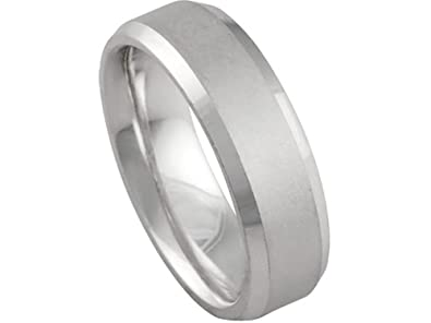 Mens 14K WHITE GOLD MATTE FINISH BEVELED EDGE 6mm COMFORT FIT