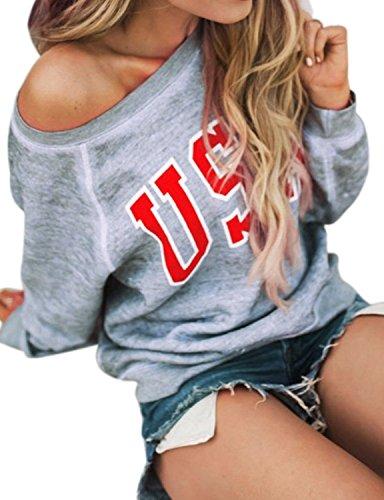 (Women Off Shoulder USA Letter Print Pullover Shirt Top Long Sleeve Lightweight Sweatshirt Size S (US 2) (Gray))