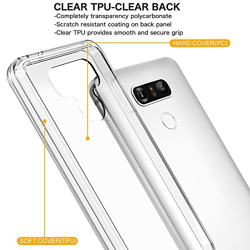 ASMART LG G6 Case,LG G6 Plus Case with See-Through and Drop Protection, TPU Grip Bumper & Clear Transparent Hard PC Backplate Hybrid Slim Thin Phone Case Cover for LG G6 Plus (Clear)