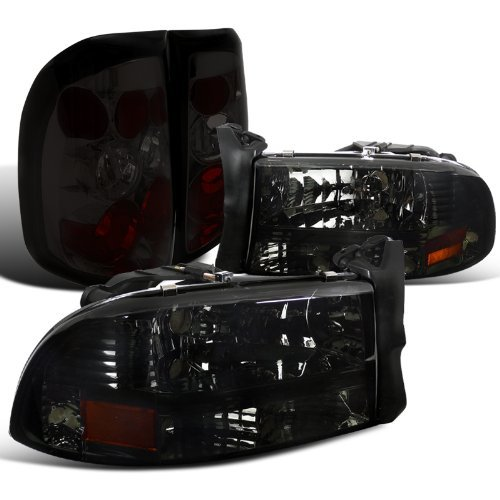 Dodge Dakota Pickup Crystal Smoke Headlights+Tint Tail Brake (Dodge Dakota Tail Lamp)