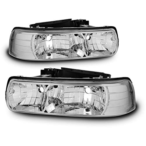 For chevy 1999-2002 Silverado 3500 2500 1500 HD 00-06 Tahoe Suburban Clear Euro Headlights (Left+Right) ()