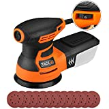 TACKLIFE 5-Inch Random Orbit Sander with 12Pcs Sandpapers, 6 Variable Speed 3.0A/13000RPM Orbital Sander, High Performance Dust Collection System, Ideal for DIY - PRS01A