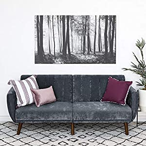 Best Choice Products Velour Fold Down Futon Sofa Bed Furniture w/Armrests, Rib Tufted Back, Wood Frame - Dark Gray
