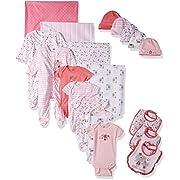 Gerber Baby Girls 19 Piece Essentials Gift Set, Lil' Flowers, 0-3M: Onesies/Sleep 'n Play, 0-6M: Cap, One Size: Bib/Blanket