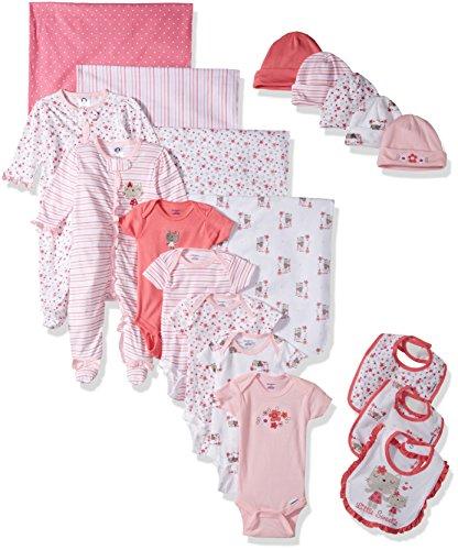 Gerber Baby Girls 19 Piece Essentials Gift Set, Lil' Flowers, 0-3M: Onesies/Sleep 'n Play, 0-6M: Cap, One Size: Bib/Blanket ()