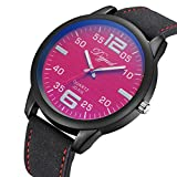 GBSELL Fashion Women Lady Watches Leather Band Alloy Quartz Wrist Watch,Red