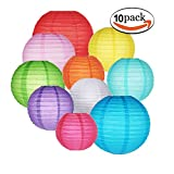 10 Packs Paper Lanterns GoFriend Colorful Chinese Round Lantern Hanging Decorations with Assorted Rainbow Colors and Sizes for Birthday Wedding Baby Shower Home Decor Ceiling Party Supplies