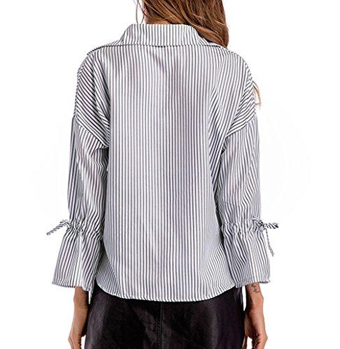 Casual V Chemisiers Rayure Flare Sleeve Noir Tops t JackenLOVE Haut Blouses Femme Shirts Col Fashion wqIatxz5
