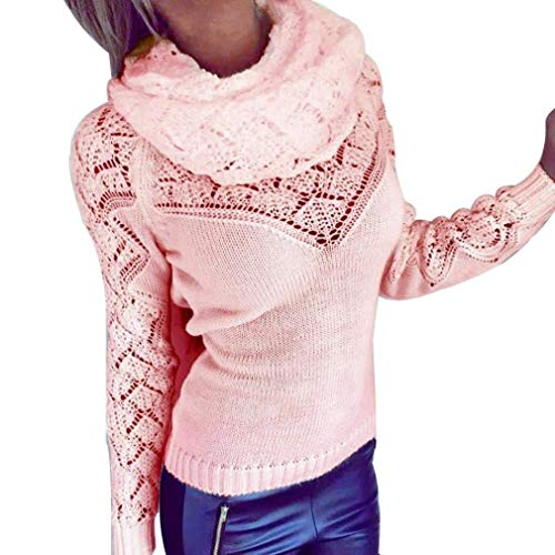 BOLAWOO Pullover Femme Manches Longues Col Roul