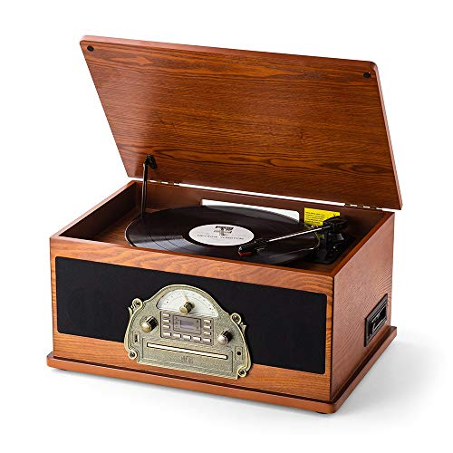 RcmNostalgic Wooden 7-in-1 Wireless Vinyl Record Player Music System with Built-in Stereo Speakers, 3-Speed Turntable, FM Radio, CD/Cassette Player, USB for MP3 Play & Recording (MC-263 Brown) (Radio Fm Record)