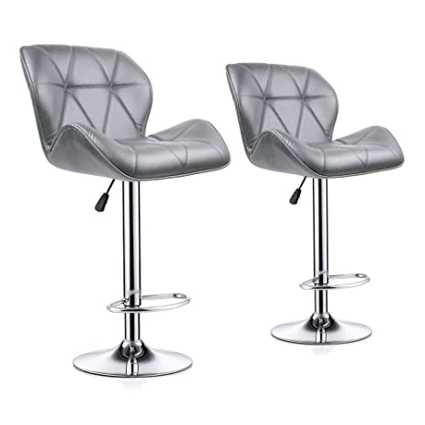 Phenomenal Redd Royal Bar Stools Set Of 2 Kitchen Bar Stool Chairs With Back And Footrest Counter Height Swivel Gas Lift Pub Chairs Pu Leather Grey Inzonedesignstudio Interior Chair Design Inzonedesignstudiocom