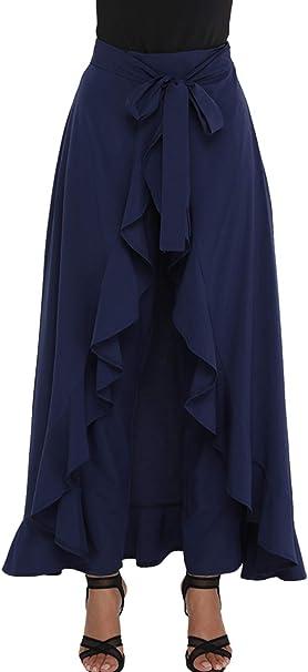 Zojuyozio Mujeres Chifón Alta Cintura Faldas Pantalones Elegantes ...
