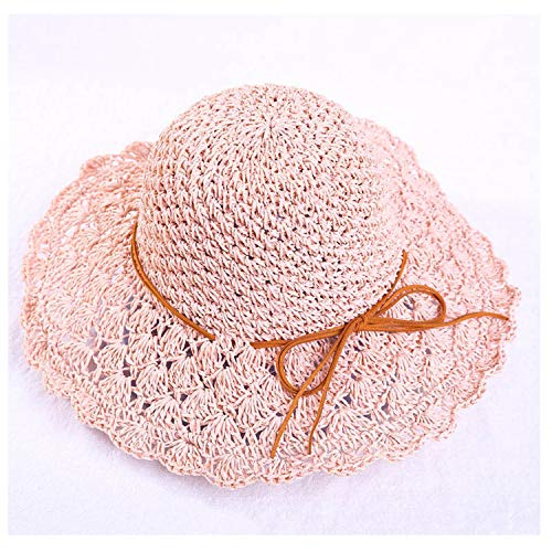 Round Women's Summer Hat Hand Woven Wide Brim Straw Hats Fashion Female Sun Caps Foldable Bohemia Beach Hat,Pink Hat]()