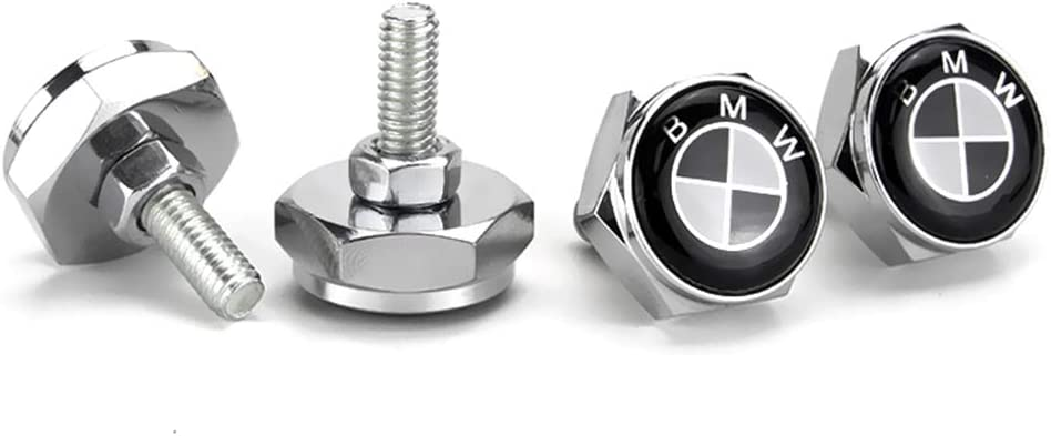 Logo Cap Cover Metal Screw Bolts Nuts Anti-Theft Universal fit for BMW 1 3 5 7 X1 X2 X3 X4 X5 X6 X7 730 740 Bettway 4pcs//Set Car License Plate Frame Screw Bolts BMW, Black