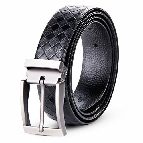 Leather Pebbled Buckle Belt (XIANGUO Men's Leather Classic Casual Braid-Weave Genuine Leather Waist)