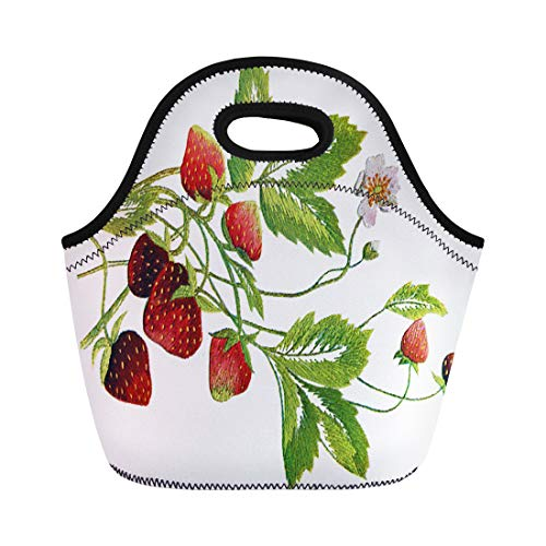 Ablitt Lunch Bags Crewel Faux Embroidered Strawberry Needlepoint Arts Crafts Sewing neoprene lunch bag lunchbox tote bag portable picnic bag cooler bag