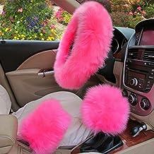 3 in 1 Cover Set Universal Wheel Cover Furry Handbrake Cover Gear Shift Cover Fur Fuzz Warm Non-slip Car Decoration Long Hair (Pink)