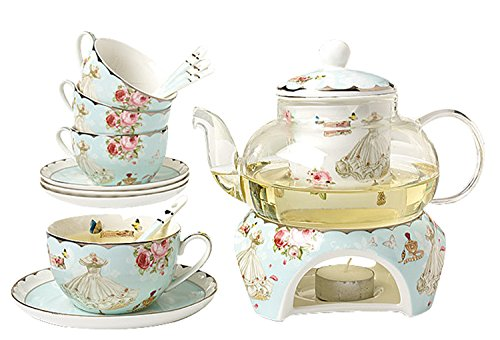 Jusalpha Fine Bone China Coffee Cups Flower Series Teacup Saucer Spoon with Teapot Warmer & Filter, 16 pcs in 1 set (FL-Glass pot 01)
