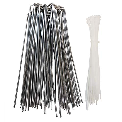 30Pcs 12inch Extra-Long U-Shaped Garden Securing Pegs,Anti-Rust Garden Stake with 30 Cable Ties for Dog Fences,Securing Weed Barrier Fabric Netting, Irrigation Hoses, Ground Sheets and Fleece,etc