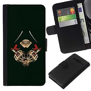 EJOY---La carpeta del tirón la caja de cuero de alta calidad de la PU Caso protector / Samsung Galaxy Core Prime / --Dedo Reaper Badass Illuminati Medio