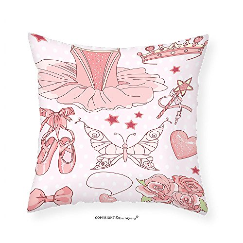 VROSELV Custom Cotton Linen Pillowcase Teen Girls Decor Collection Set of Princess Ballerina Accessories Classic Costume Shoes Tiara Roses Image Pattern Bedroom Living Room Dorm Pink 12