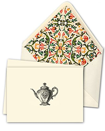 """K DESIGNS - HAND MADE STATIONERY - FOLD OVER NOTE CARDS & DESIGNER ENVELOPES (Lined By Hand With Elegant Hand Made / Specialty Paper) – Signature Tea Collection - Artist's Designed """"Victorian Teapot"""" - Artwork Comes From An Antique/Vintage Piece - Crafted"""