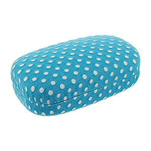 Hard Turquoise And White Polka Dot With Interior Mirror Contact Lens Travel Case