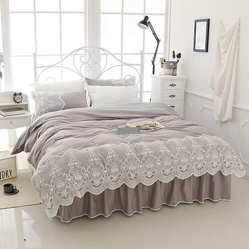 High end White Lace Bedding Set Cotton Twin Full Queen King Size Bed Skirt Set Duvet Cover Girls Kids Bed Cover Set Bedclothes Pillowcase,5,Super King Size 4pcs ()