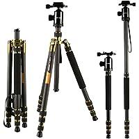 Carbon Fiber Tripods, K&F Concept TC2534 Lightweight Portable Camera Tripod Monopod Kit 66/168cm Professional Travel Tripod for DSLR Canon Nikon Simga Tamron Sony