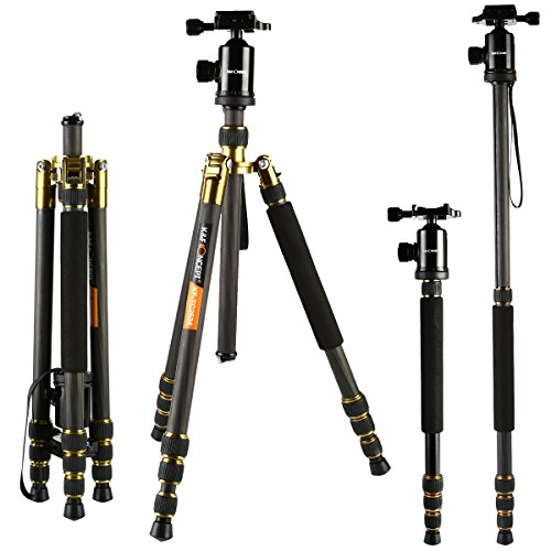 Carbon Fiber Tripods, K&F Concept TC2534 Lightweight Portable Camera Tripod Monopod Kit 66″/168cm Professional Travel Tripod for DSLR Canon Nikon Simga Tamron Sony