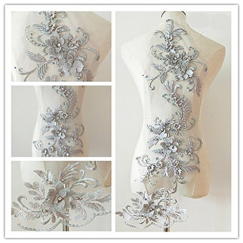 3D Beaded Flower Sequence lace Applique Motif Sewing Bridal Wedding 3in1 20cmx72cm -