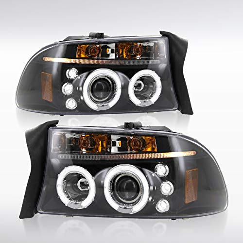 Autozensation For Dakota/Durango Black LED Halo Projector Headlights ()