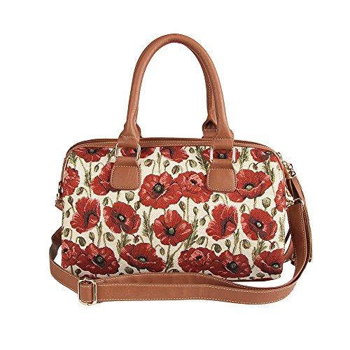 Handbag Bowler Small (Signare Womens Fashion Tapestry Tassel Top Handle Shoulder Bag in Floral Poppy Design)