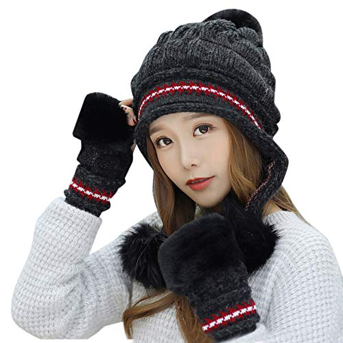 PASATO 2Pcs Women Winter Warm Knitted Venonat Beanie Hat+Gloves Keep Warm Set Solid Hat for Women Fashion(Black,Free Size) -