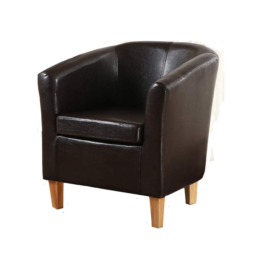 Bonded Leather Tub Chair Armchair for Dining Living Room Office Reception (Black) Angelis