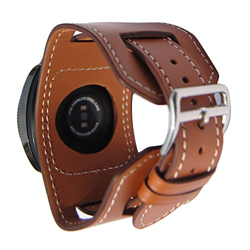 20mm Genuine Leather Cuff Wrist Watch Band,Gear s2 Watch Replacement Strap for Samsung Gear s2 Classic (Brown)